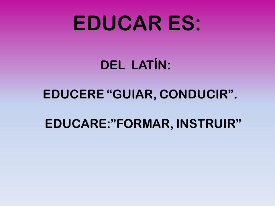 EDUCAR ES: DEL LATÍN: EDUCERE GUIAR, CONDUCIR .