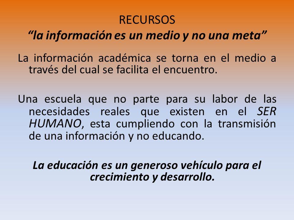 RECURSOS la información es un medio y no una meta