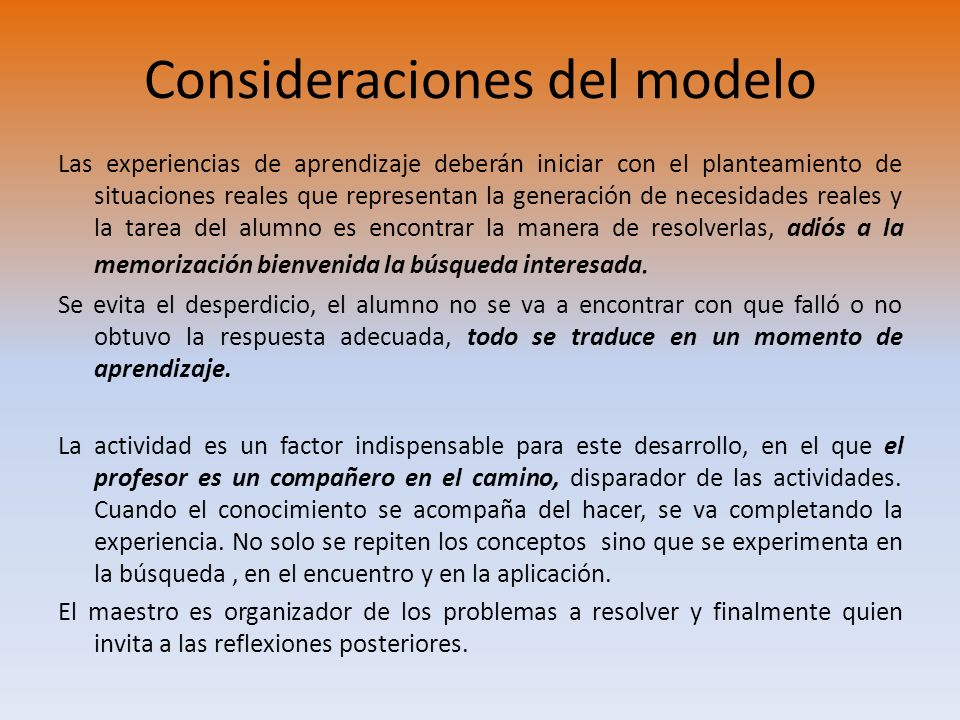 Consideraciones del modelo
