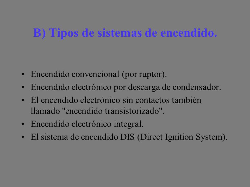B) Tipos de sistemas de encendido.