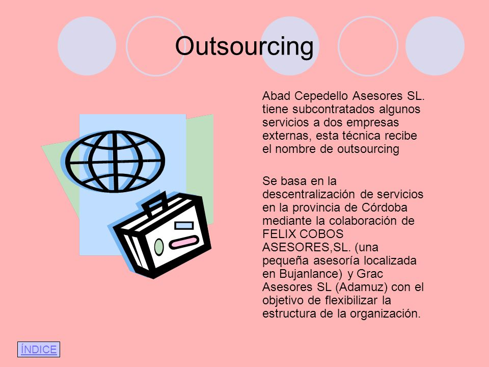 Outsourcing Abad Cepedello Asesores SL. tiene subcontratados algunos servicios a dos empresas externas, esta técnica recibe el nombre de outsourcing.