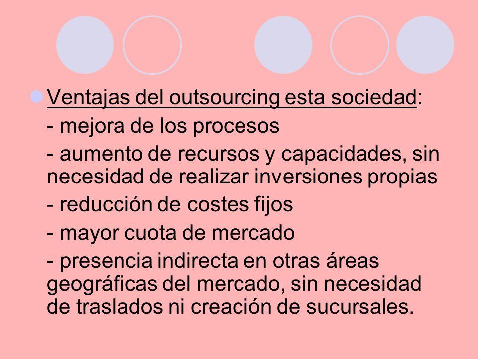 Ventajas del outsourcing esta sociedad: