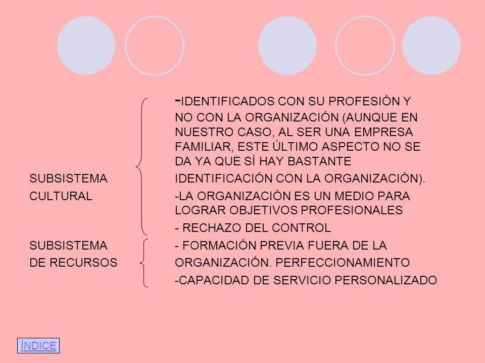 -IDENTIFICADOS CON SU PROFESIÓN Y. NO CON LA ORGANIZACIÓN (AUNQUE EN