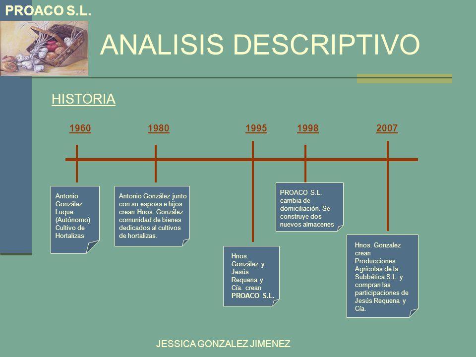 ANALISIS DESCRIPTIVO PROACO S.L. HISTORIA 1960 1980 1995 1998 2007