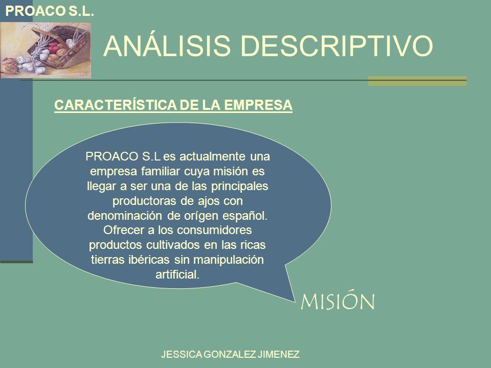 ANÁLISIS DESCRIPTIVO MISIÓN PROACO S.L. CARACTERÍSTICA DE LA EMPRESA