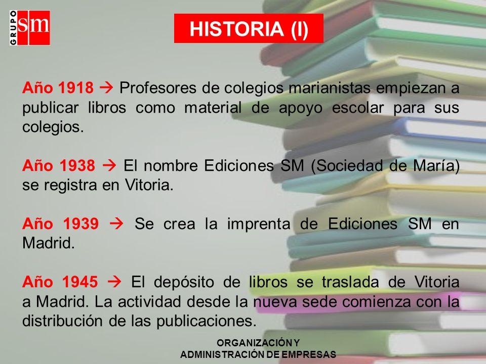 HISTORIA (I) Año 1918  Profesores de colegios marianistas empiezan a publicar libros como material de apoyo escolar para sus colegios.