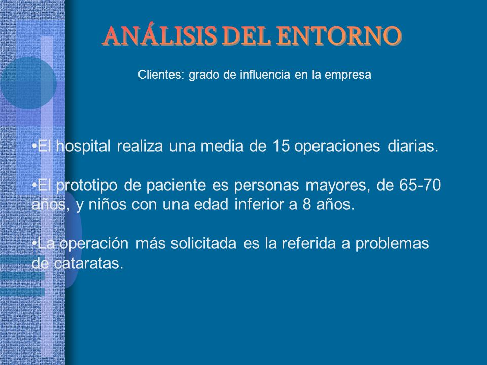 ANÁLISIS DEL ENTORNO Clientes: grado de influencia en la empresa. El hospital realiza una media de 15 operaciones diarias.