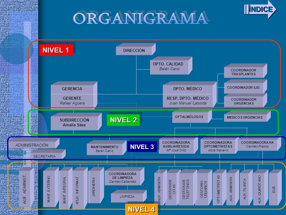 ORGANIGRAMA ÍNDICE NIVEL 1 NIVEL 2 NIVEL 4 NIVEL 3 DIRECCIÓN