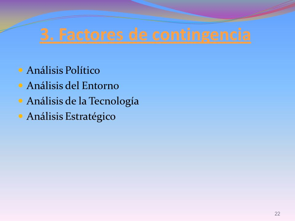 3. Factores de contingencia