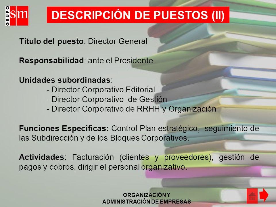 DESCRIPCIÓN DE PUESTOS (II)