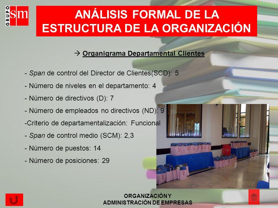ANÁLISIS FORMAL DE LA ESTRUCTURA DE LA ORGANIZACIÓN