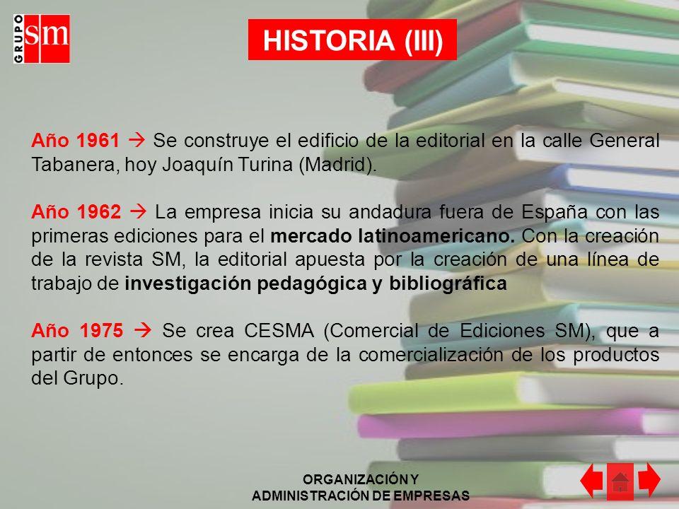 HISTORIA (III) Año 1961  Se construye el edificio de la editorial en la calle General Tabanera, hoy Joaquín Turina (Madrid).