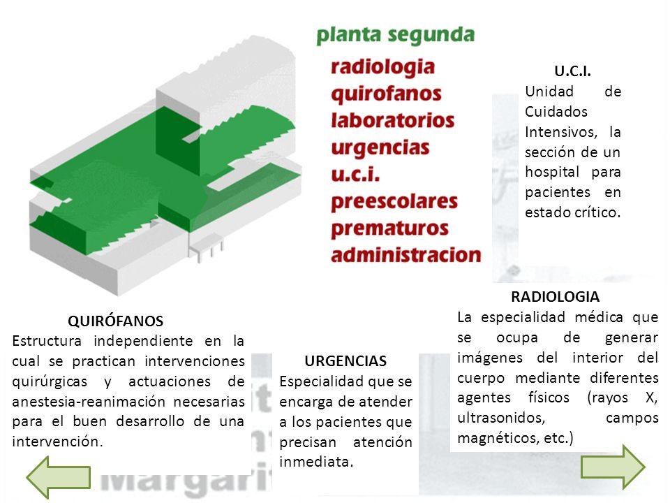 U.C.I. Unidad de Cuidados Intensivos, la sección de un hospital para pacientes en estado crítico. RADIOLOGIA.