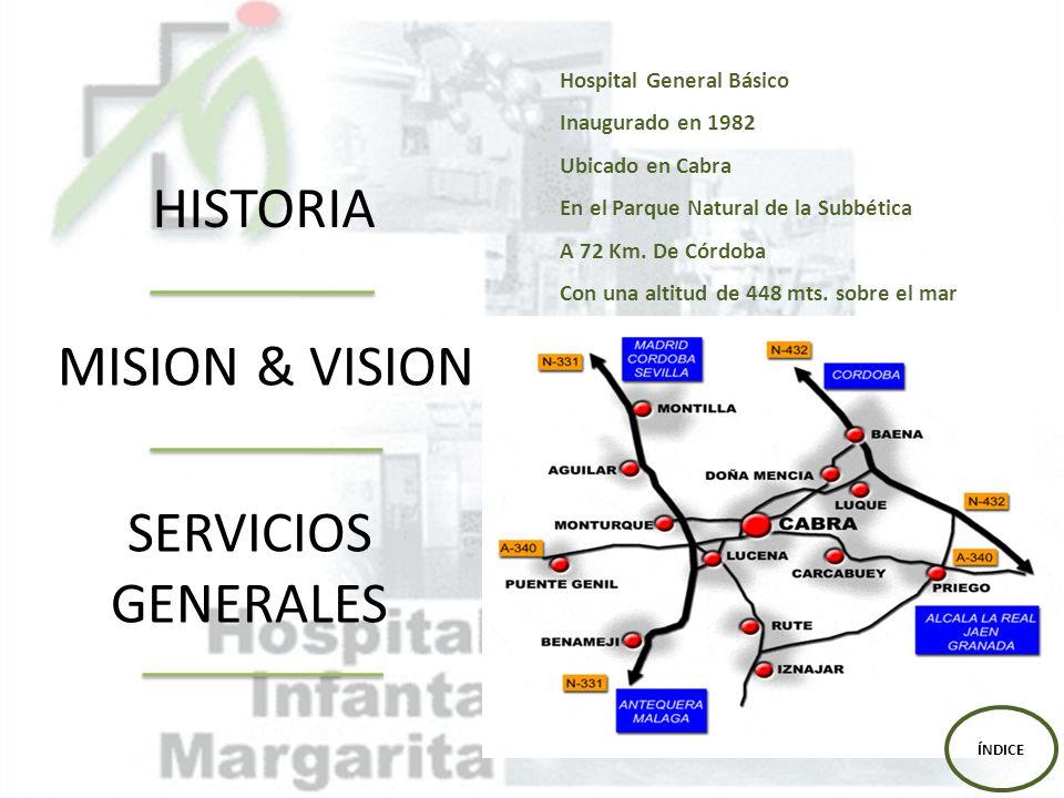 HISTORIA MISION & VISION SERVICIOS GENERALES Hospital General Básico