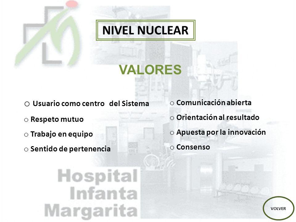 NIVEL NUCLEAR VALORES Usuario como centro del Sistema