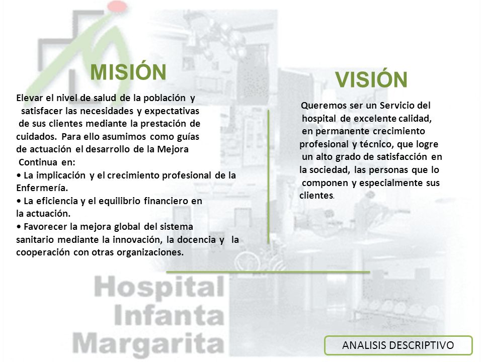 MISIÓN VISIÓN ANALISIS DESCRIPTIVO
