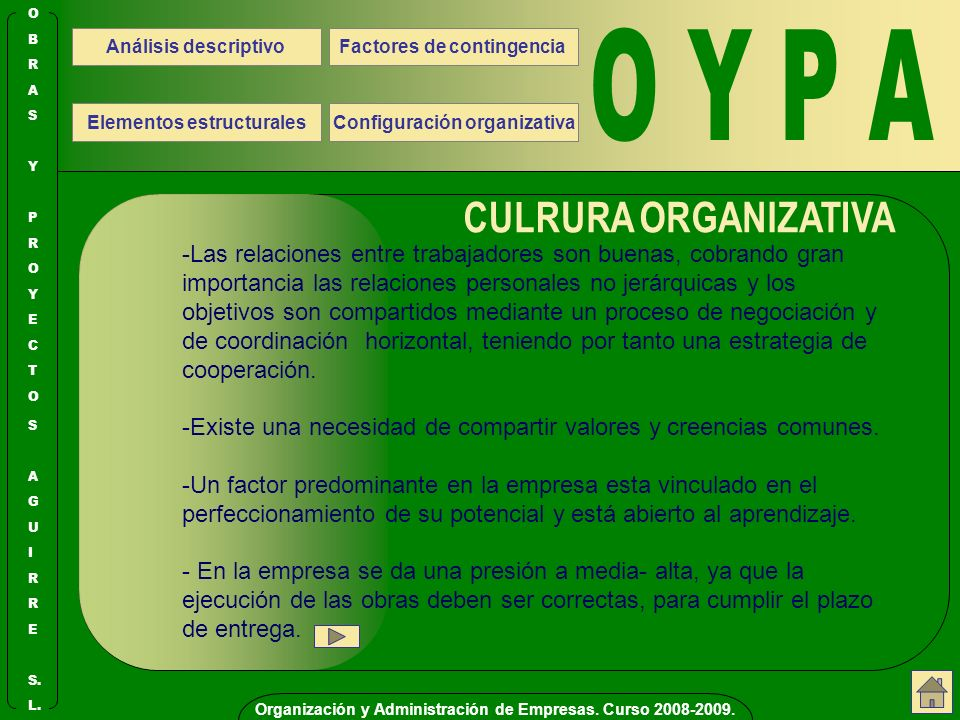 O Y P A CULRURA ORGANIZATIVA