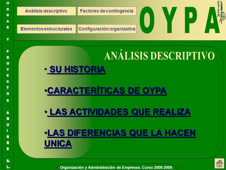 O Y P A ANÁLISIS DESCRIPTIVO SU HISTORIA CARACTERÍTICAS DE OYPA