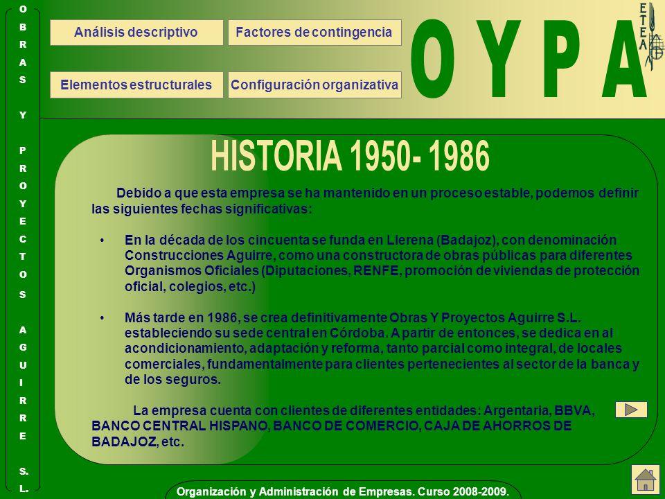O Y P A HISTORIA 1950- 1986 Análisis descriptivo