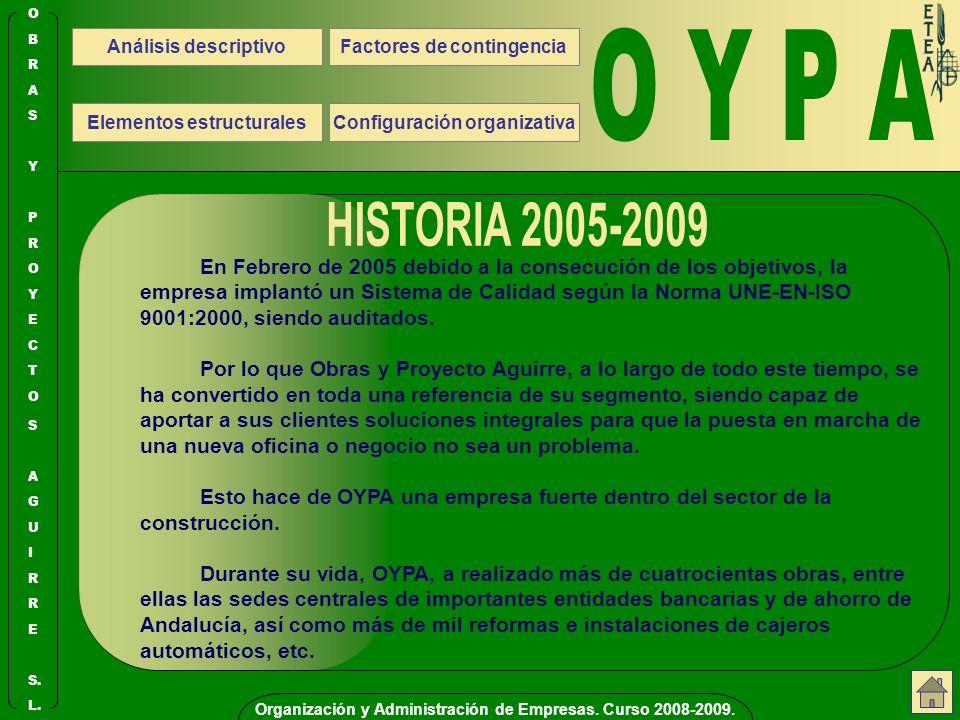 O Y P A Organización y Administración de Empresas. Curso 2008-2009. S. E. R. I. L. U. G. A.