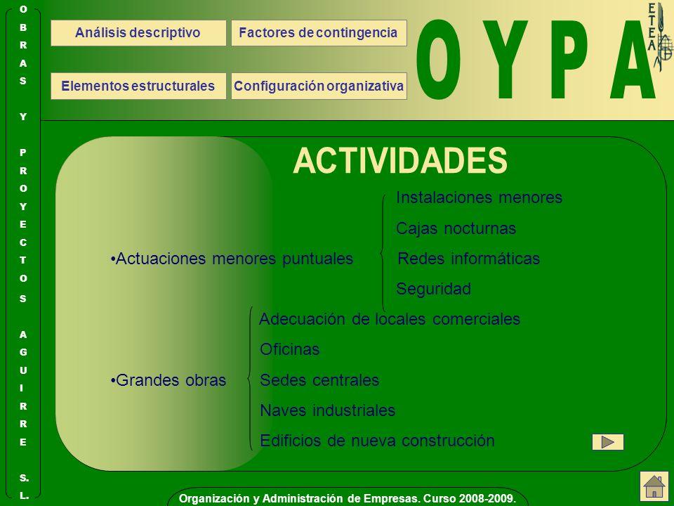 O Y P A ACTIVIDADES Instalaciones menores Cajas nocturnas