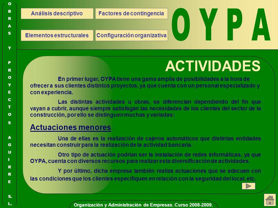 O Y P A ACTIVIDADES Actuaciones menores: