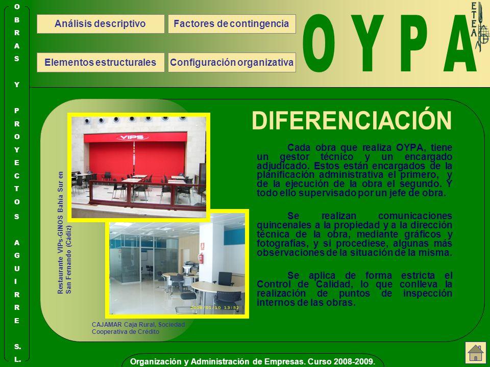 O Y P A DIFERENCIACIÓN Análisis descriptivo Configuración organizativa