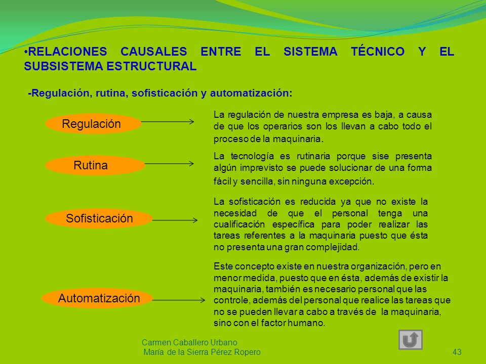 RELACIONES CAUSALES ENTRE EL SISTEMA TÉCNICO Y EL SUBSISTEMA ESTRUCTURAL