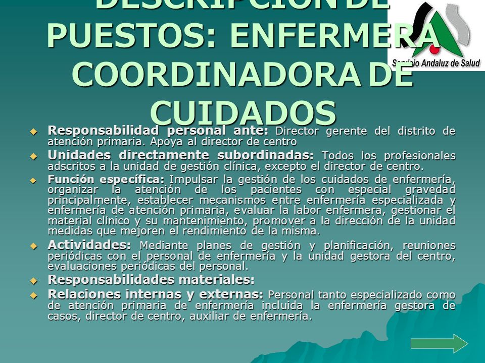 DESCRIPCIÓN DE PUESTOS: ENFERMERA COORDINADORA DE CUIDADOS