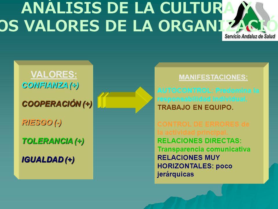 LOS VALORES DE LA ORGANIZACIÓN