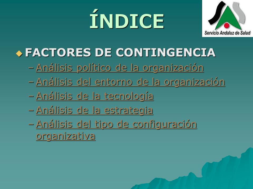 ÍNDICE FACTORES DE CONTINGENCIA Análisis político de la organización