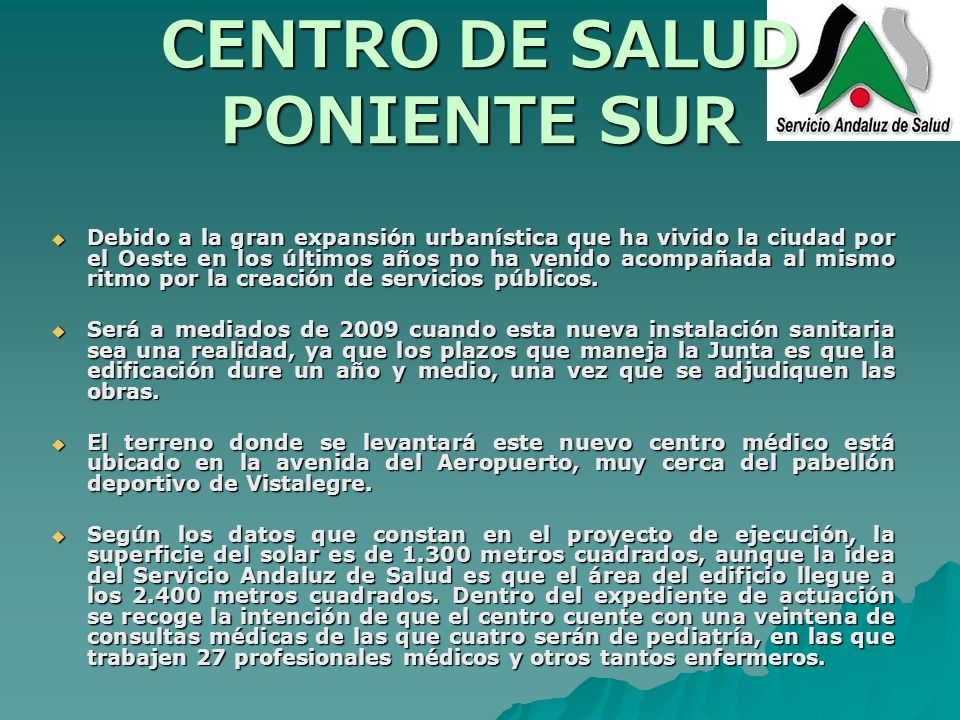 CENTRO DE SALUD PONIENTE SUR