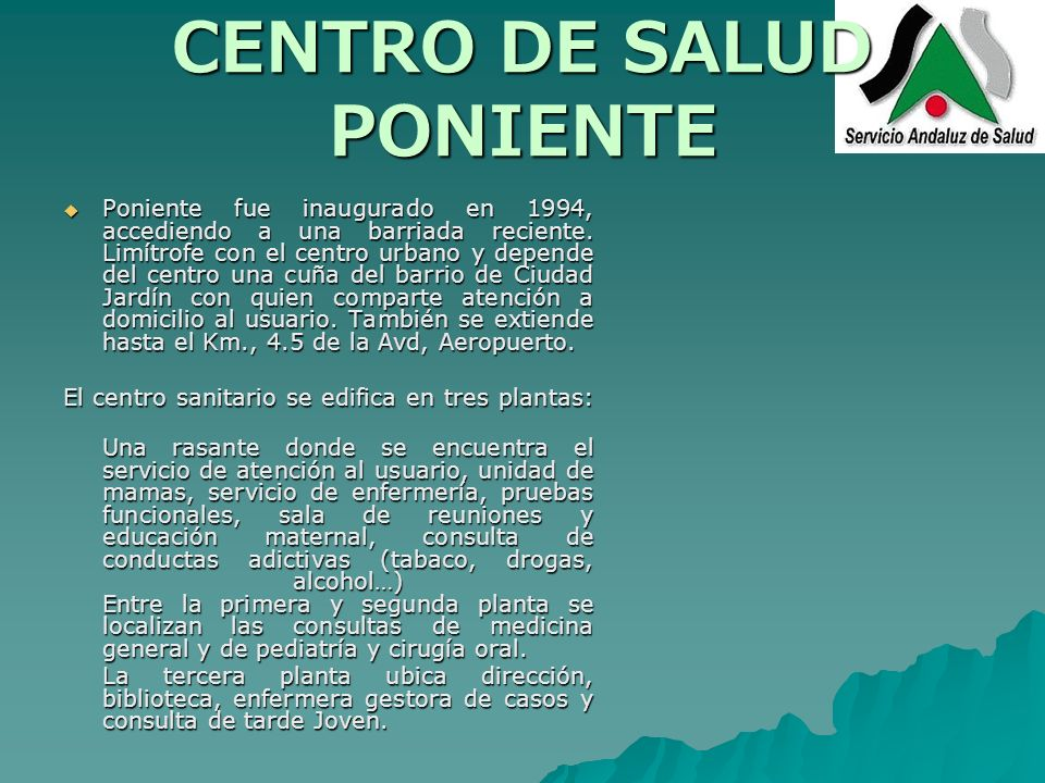 Centro de salud poniente c rdoba ppt descargar for Centro de salud ciudad jardin badajoz