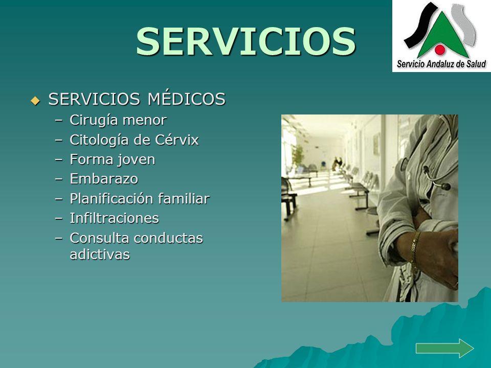 SERVICIOS SERVICIOS MÉDICOS Cirugía menor Citología de Cérvix