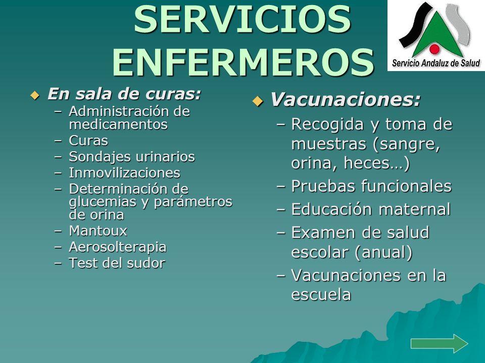 SERVICIOS ENFERMEROS Vacunaciones: En sala de curas: