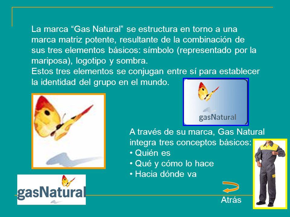 La marca Gas Natural se estructura en torno a una marca matriz potente, resultante de la combinación de sus tres elementos básicos: símbolo (representado por la mariposa), logotipo y sombra.