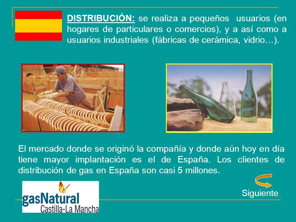 DISTRIBUCIÓN: se realiza a pequeños usuarios (en hogares de particulares o comercios), y a así como a usuarios industriales (fábricas de cerámica, vidrio…).