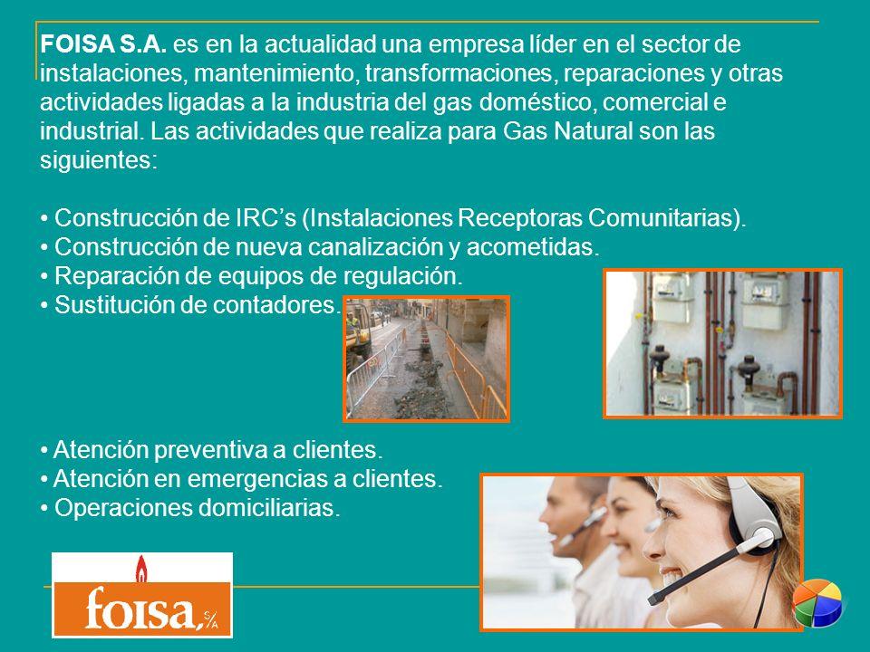 FOISA S.A. es en la actualidad una empresa líder en el sector de instalaciones, mantenimiento, transformaciones, reparaciones y otras actividades ligadas a la industria del gas doméstico, comercial e industrial. Las actividades que realiza para Gas Natural son las siguientes:
