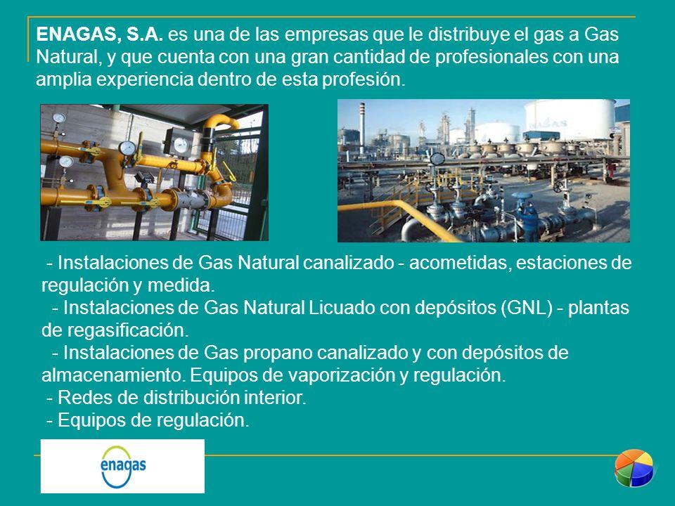 ENAGAS, S.A. es una de las empresas que le distribuye el gas a Gas Natural, y que cuenta con una gran cantidad de profesionales con una amplia experiencia dentro de esta profesión.