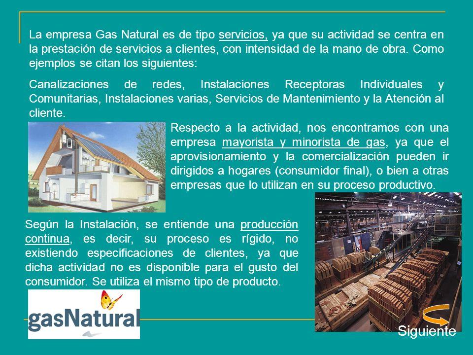 La empresa Gas Natural es de tipo servicios, ya que su actividad se centra en la prestación de servicios a clientes, con intensidad de la mano de obra. Como ejemplos se citan los siguientes: