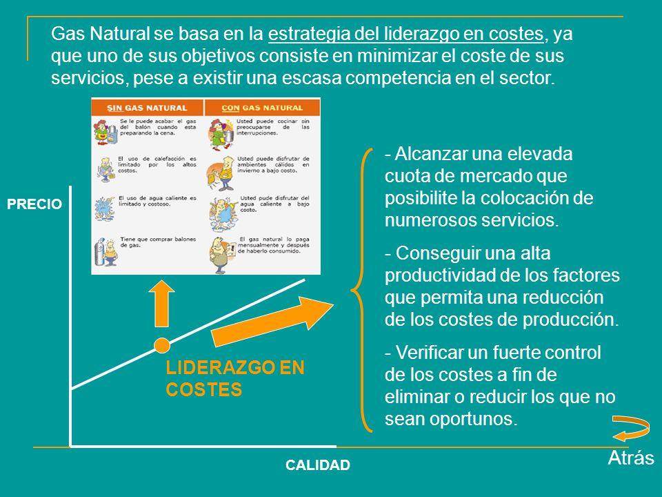 Gas Natural se basa en la estrategia del liderazgo en costes, ya que uno de sus objetivos consiste en minimizar el coste de sus servicios, pese a existir una escasa competencia en el sector.