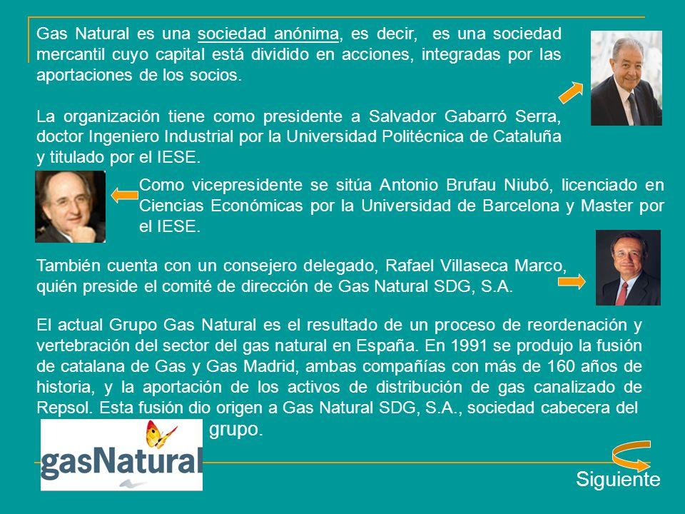 Gas Natural es una sociedad anónima, es decir, es una sociedad mercantil cuyo capital está dividido en acciones, integradas por las aportaciones de los socios.
