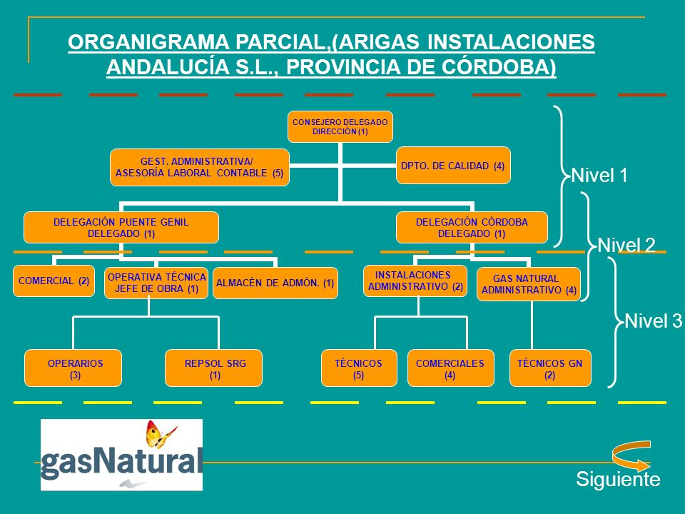 ORGANIGRAMA PARCIAL,(ARIGAS INSTALACIONES ANDALUCÍA S. L
