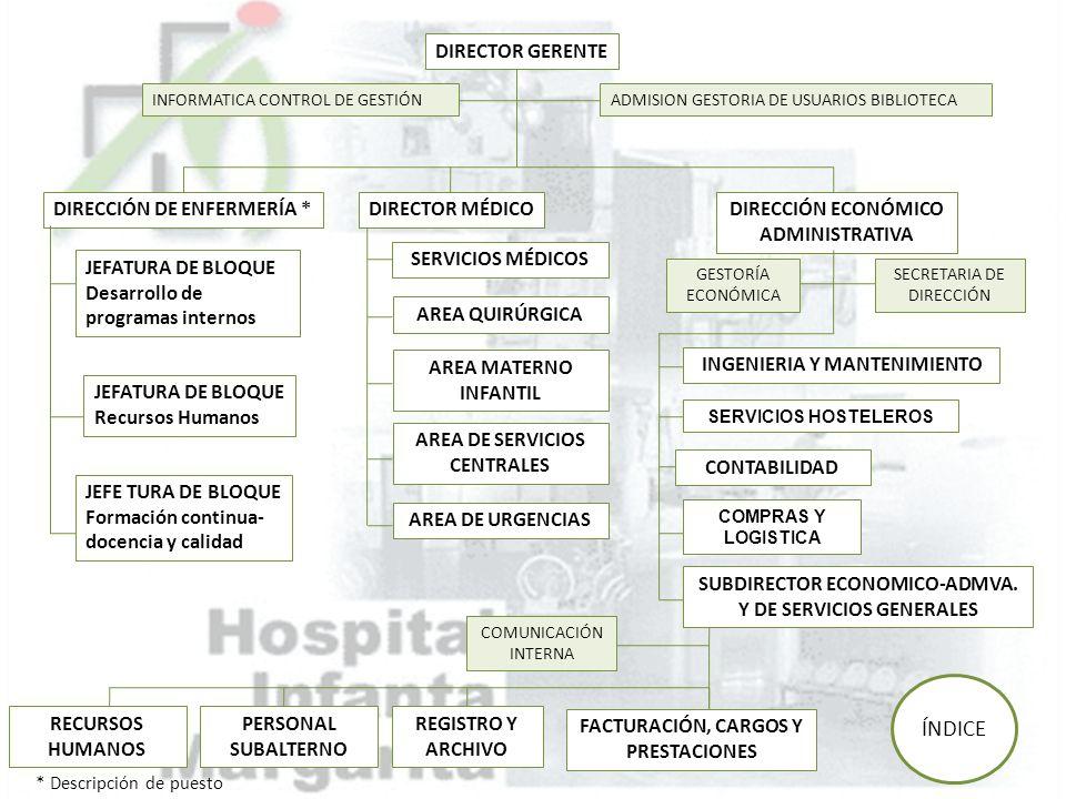 ÍNDICE DIRECTOR GERENTE DIRECCIÓN DE ENFERMERÍA * DIRECTOR MÉDICO