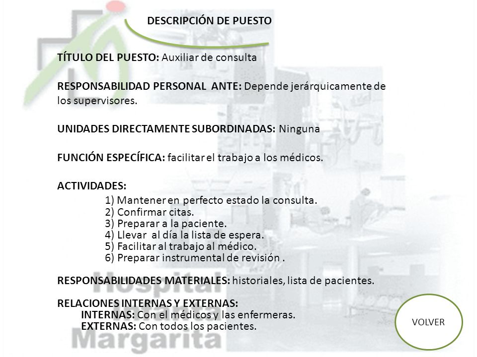 TÍTULO DEL PUESTO: Auxiliar de consulta