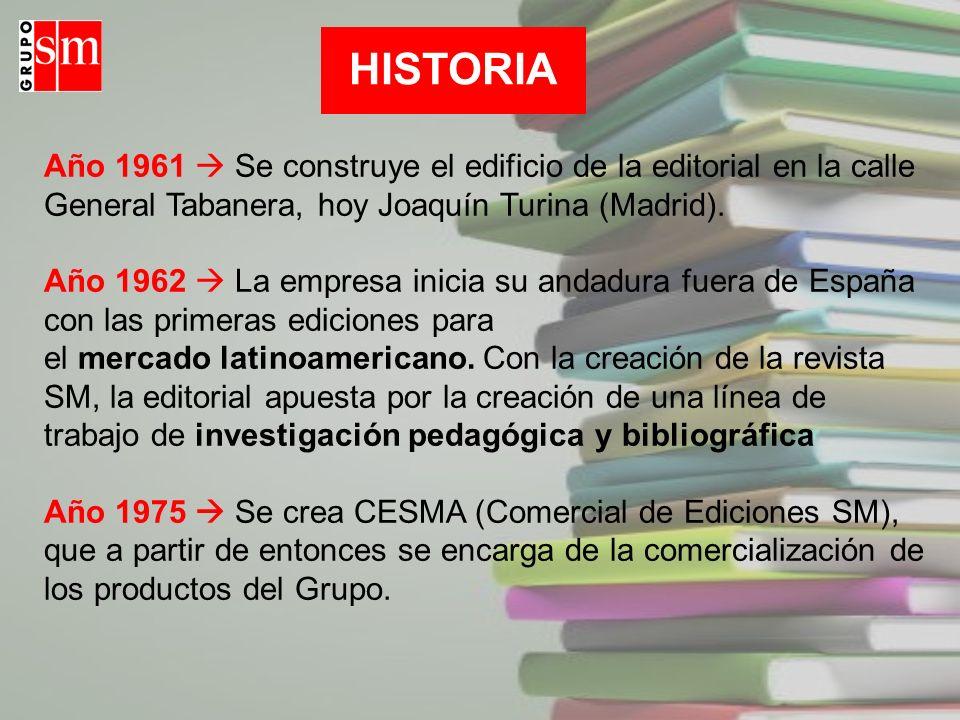 HISTORIA Año 1961  Se construye el edificio de la editorial en la calle General Tabanera, hoy Joaquín Turina (Madrid).