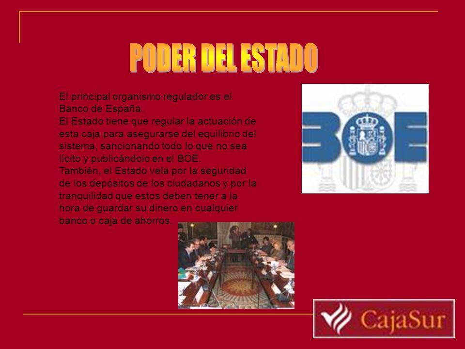 PODER DEL ESTADO El principal organismo regulador es el Banco de España.