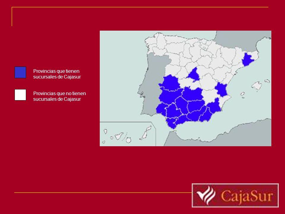 Provincias que tienen sucursales de Cajasur