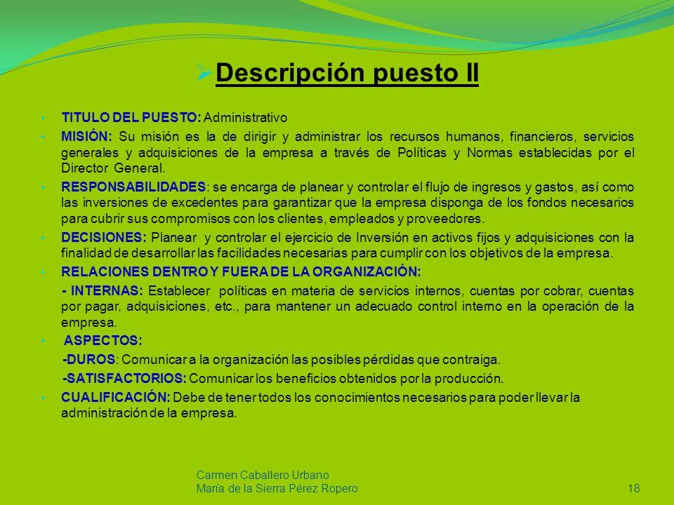 Descripción puesto II TITULO DEL PUESTO: Administrativo