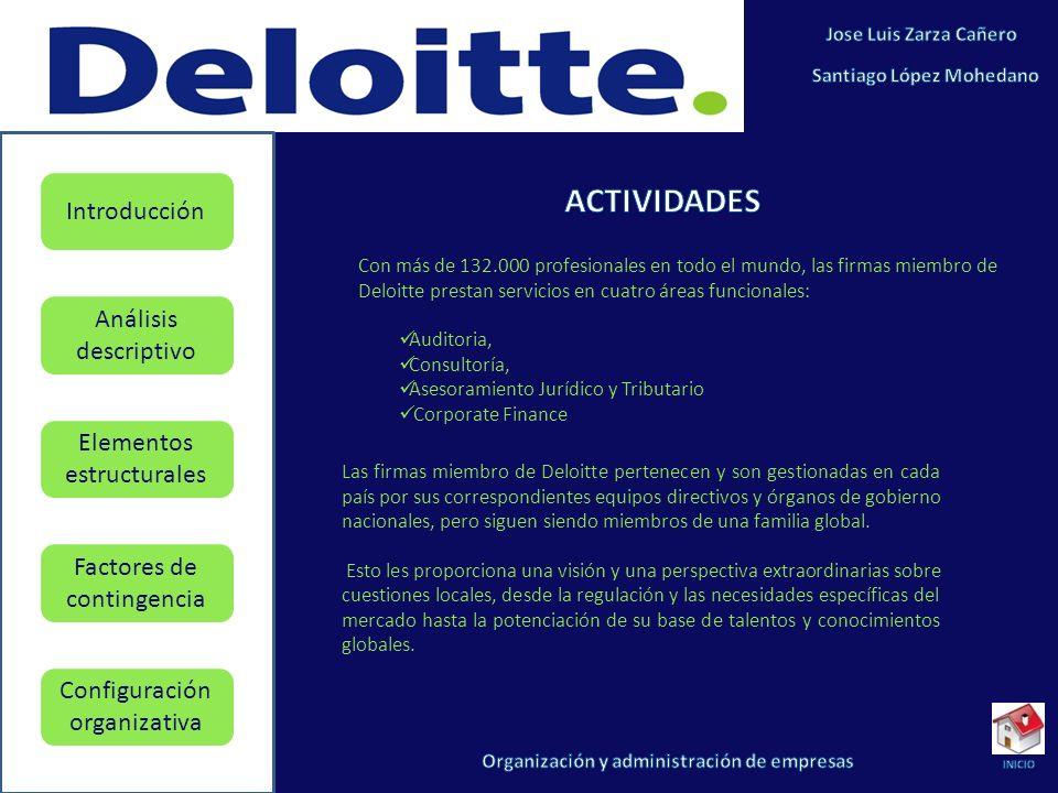 ACTIVIDADES Con más de 132.000 profesionales en todo el mundo, las firmas miembro de Deloitte prestan servicios en cuatro áreas funcionales:
